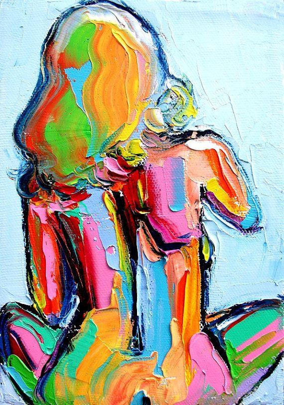 Femme 219  5x7 Impasto abstract nude oil by SagittariusGallery, $53.00