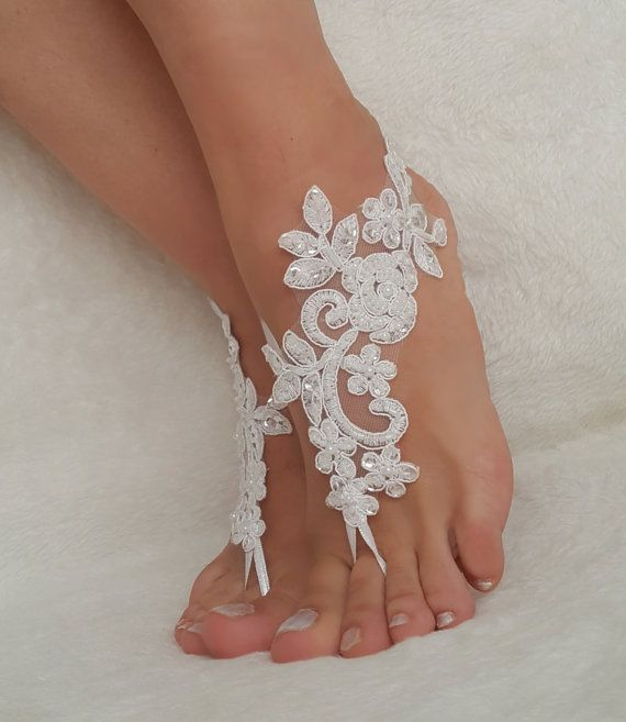 Blanc sandales aux pieds nus de dentelle Ivoire par BarefootShop