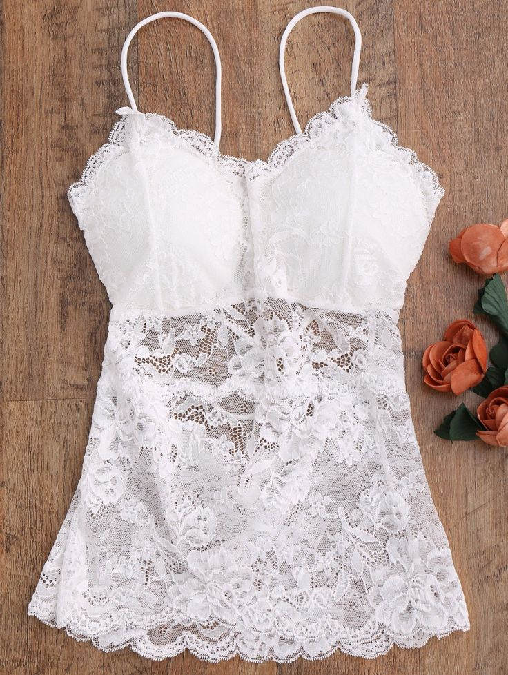 See Thru Lace Camisole Top - WHITE ONE SIZE