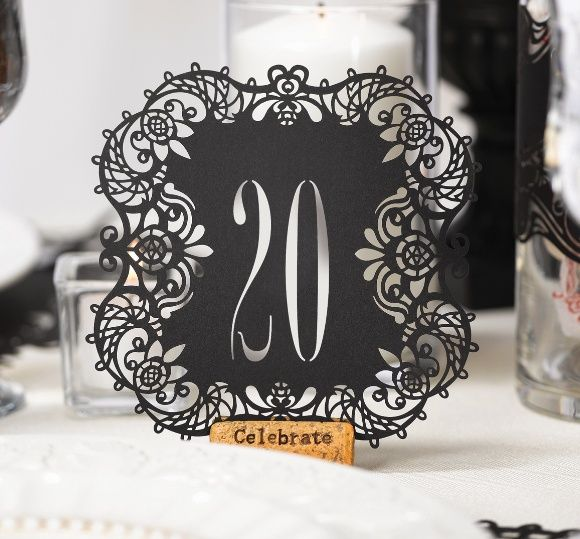 Black Laser Cut Table Number Cards (Hortense B Hewitt 30841) | Buy at Wedding Favors Unlimited (http://www.weddingfavorsunlimited.com/black_laser_cut_table_number_cards.html).