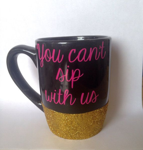 11oz black glitter dipped coffee mug // mean by FarmhouseChicHanna