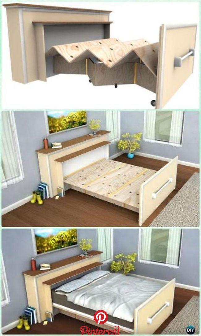 Diy Space Saving Bed Frame Design Free Plans Instructions In 2020 Bed Frame Design Diy Space Saving Space Saving Beds