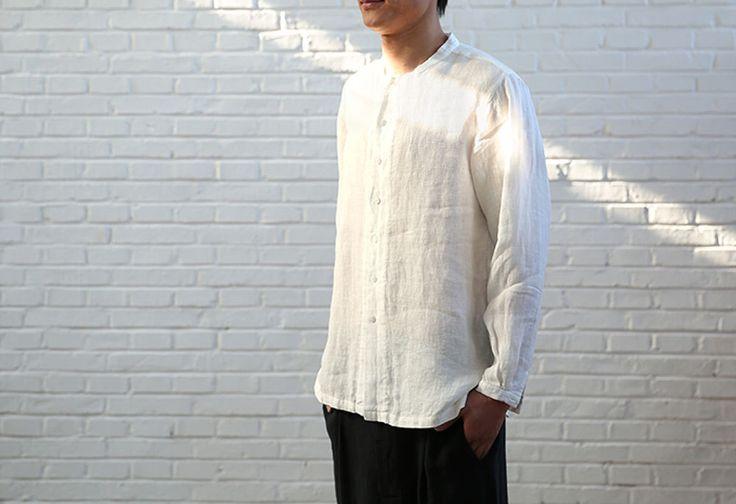 563---Men's White Linen Shirt, Cheongsam, Made to measure. by EDOA on Etsy https://www.etsy.com/au/listing/507874413/563-mens-white-linen-shirt-cheongsam