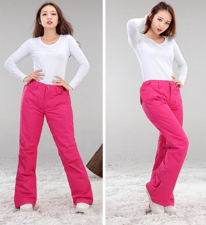 2016 womens hot pink ski pants ladies red snowboarding pants winter waterproof sports trousers skating skiing pants hiking pants