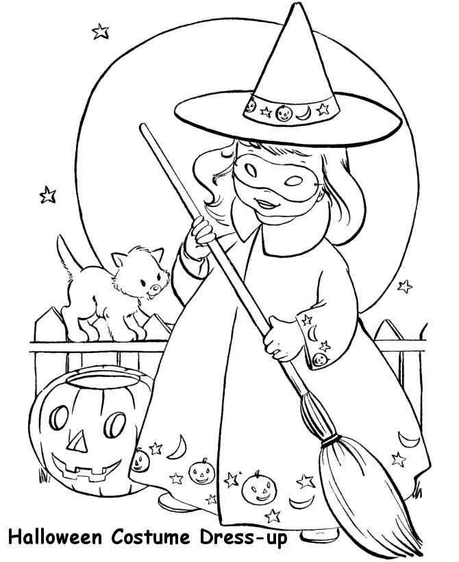 Little Girl Halloween Witch - Halloween Witch Coloring Pages