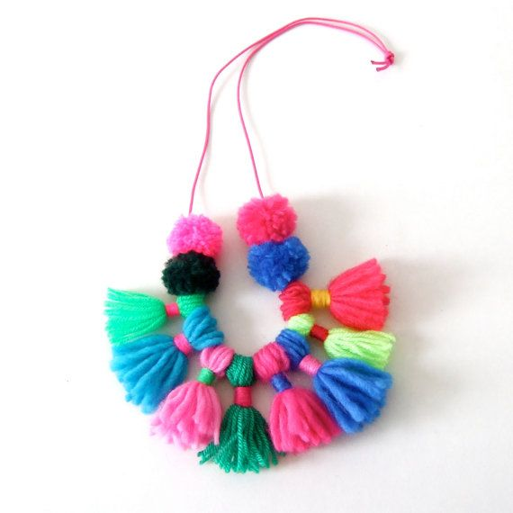 pom pom and tassel necklace