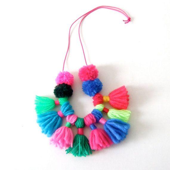 pom pom and tassel necklace