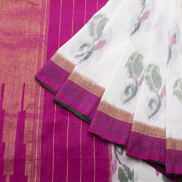 Silk/Linen - Rose design - White w Pink n green border n ikat roses allover.