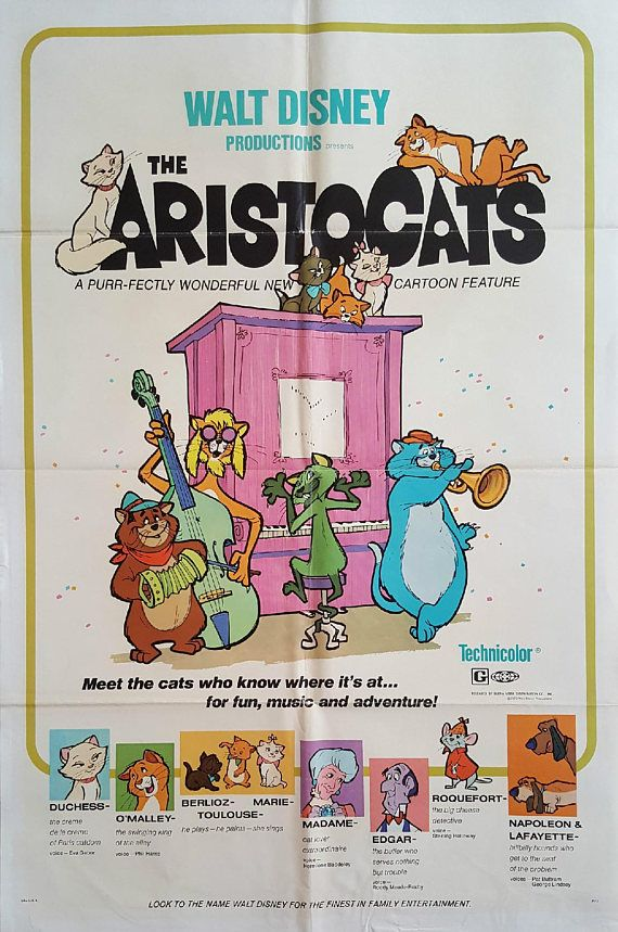 1970 Aristocats Movie Poster 1sh  Original Vintage Poster