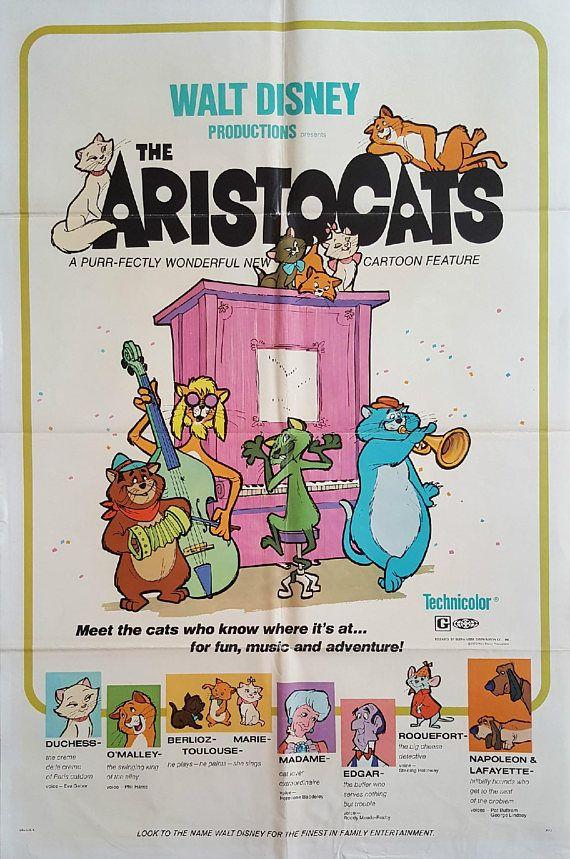 1970 Aristocats Movie Poster 1sh  Original Vintage Poster