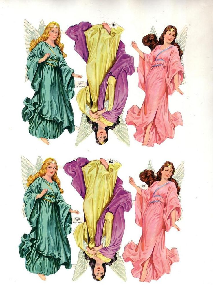 I had these only smaller versions.  Vintage Die-cut Scrap Angels, good condition made in England (Image1)