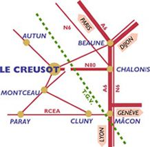 """Trains Le Creusot  The TGV station is 15 minutes from Le Creusot, served by shuttles in connection with train schedules.  Le Creusot also has a city station """"Le Creusot City"""" TER Burgundy."""