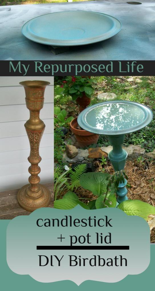 Re-purposed -Thrift store candlestick, plus a pot lid birdbath. Painted pot lid is great idea!