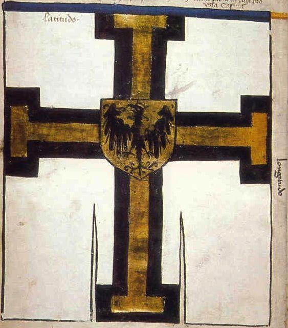 """f°1v, Chorągiew wielkiego mistrza większa // Banner of the Great Master of the Teutonic Order. Under the leadership of Grand Master Ulrich von Junigen -- """"Banderia Prutenorum"""", by Jan Dlugosz, 1410"""