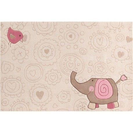 Faites l'achat du tapis happy zoo elephant blanc pour bébé fille de marque Sigikid