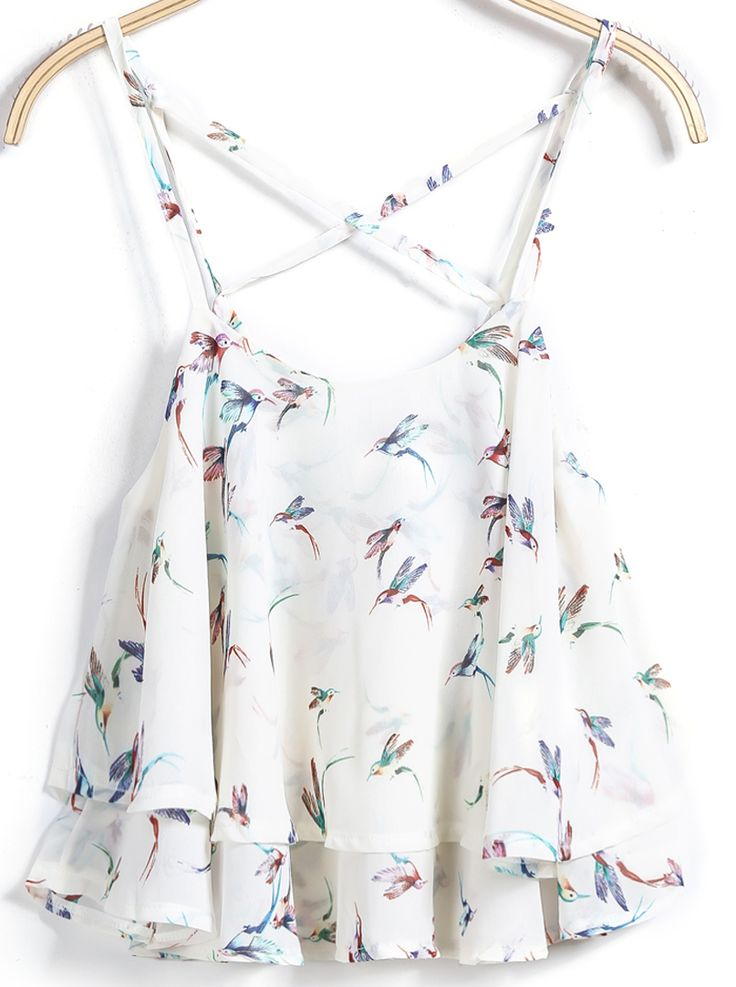Shop White Spaghetti Strap Birds Print Vest online. Sheinside offers White Spaghetti Strap Birds Print Vest & more to fit your fashionable needs. Free Shipping Worldwide!