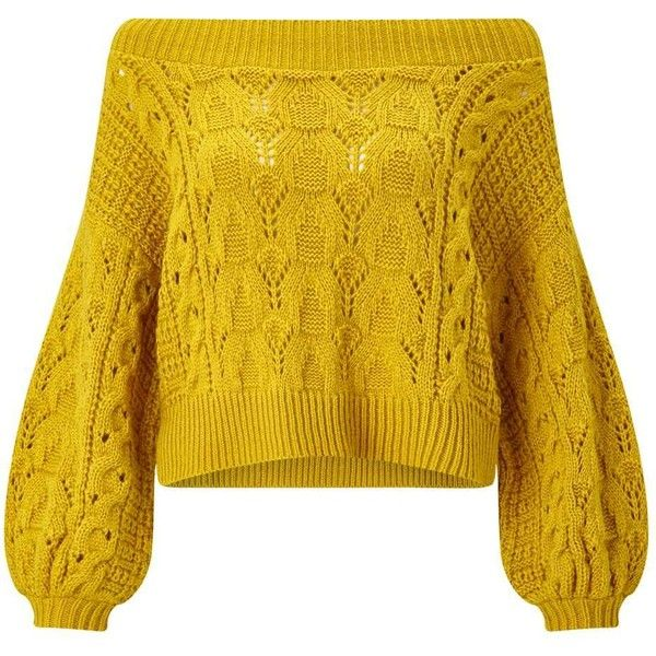 Miss Selfridge Ochre Pointelle Bardot Knitted Jumper (377350 PYG) ❤ liked on Polyvore featuring tops, sweaters, ochre, yellow top, jumpers sweaters, miss selfridge, miss selfridge tops and acrylic sweater
