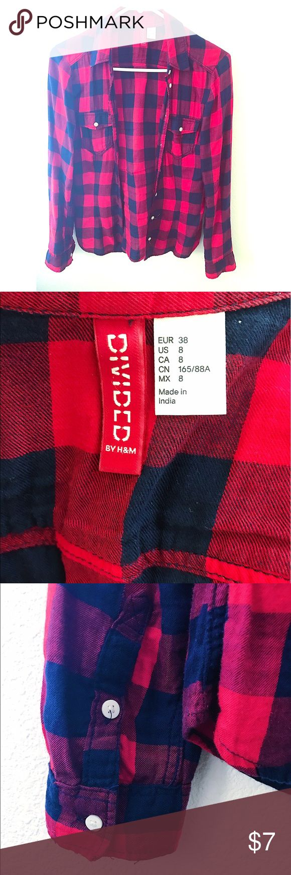 Red Plaid Shirts H&M red plaid shirts! I've loved it but I've grown out of it. The size shrunk so it's more of like size 4-6 than 8. No damage or stains. Still in great condition! H&M Tops Button Down Shirts