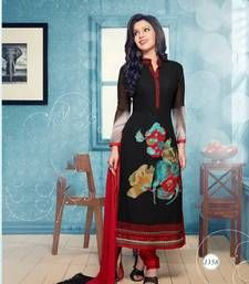 Buy Beauty Net Brasso Embrodered Black & Red Coloured  Party Wear Unstiched Dress Material collar-neck-design online