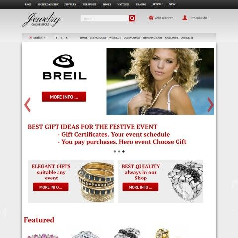 CS-Cart 3 Responsive Template cs300054 is specially designed for Jewelry`s Shop. Selling Jewelry brand Breil, Cartier, KWIAT, Movado, Fiorelli, VAOV, Swarovski. Rings, Earrings, Bracelets, Necklaces and Pendants Precious metals. With Diamonds, Rubies, Sapphires, Pearls, these jewels of Gold and Silver will look beautiful in this online store.