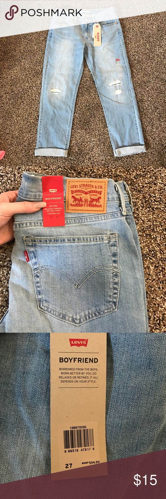 "Levi's jeans Size 27 Levi's boyfriend jeans, never worn. Fit true to size. (For reference, I'm 5'4"" and 130 lbs and these are slightly loose on me) they are 23 1/2 inches inseam Levi's Jeans Boyfriend"