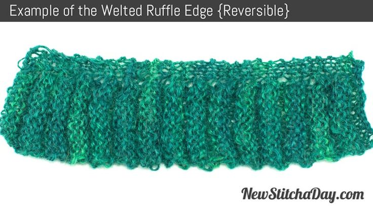 Knitting Edge Stitch Patterns : Example of the welted ruffle edge reversible free knit