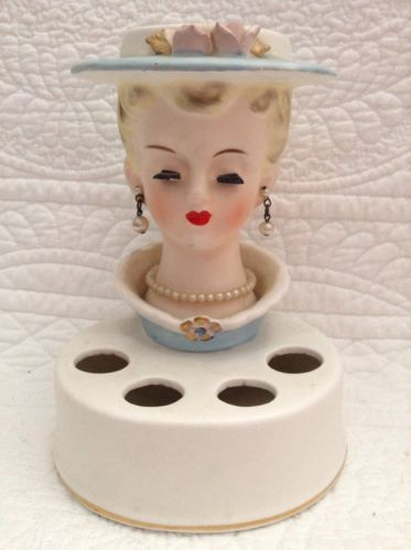 Vintage Japan Lady Head Vase Lipstick Holder Ceramic Vanity Display Glam Girl | eBay