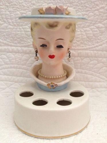 Vintage Japan Lady Head Vase Lipstick Holder Ceramic Vanity Display Glam Girl | eBay