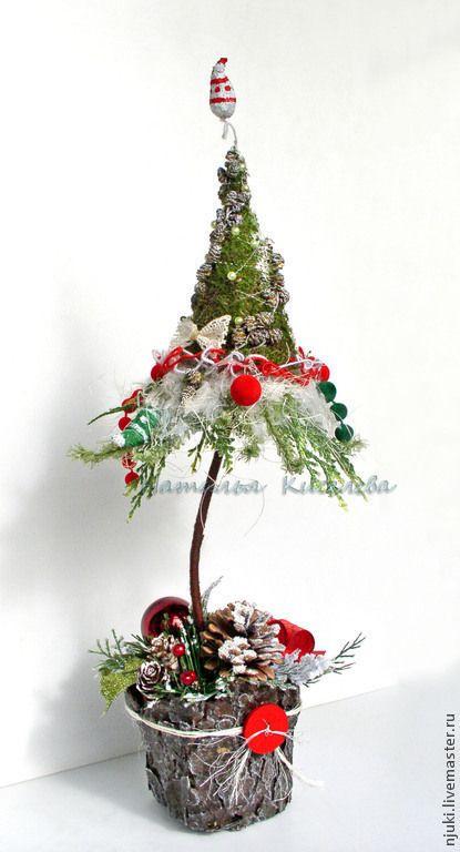 Елка новогодняя Лесной Зонтик - зелёный,коричневый,красный,новогодняя елка
