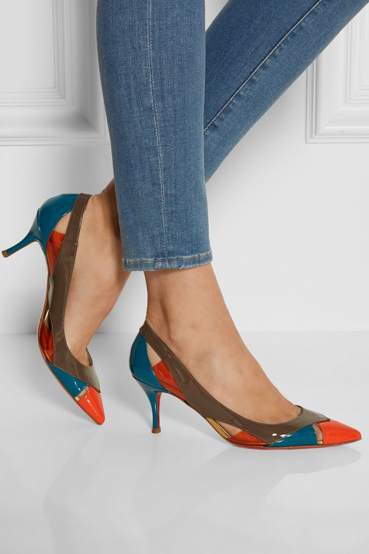 louboutin roller spikes - Christian Louboutin   Galata 70 patent-leather and PVC pumps   NET ...