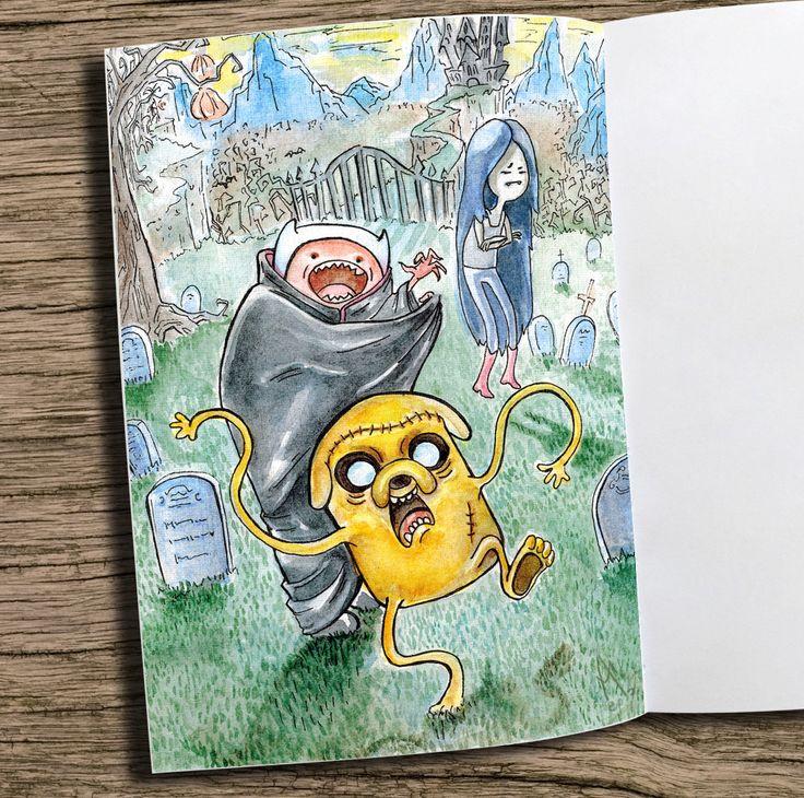 I love this cartoon because it's  extraordinary!)) #fanart #adventuretime #Finn #Jake #watercolours #cartoon #drawing #Marceline #Halloween #mystery #Финн #Джейк #Марселин #времяприключений