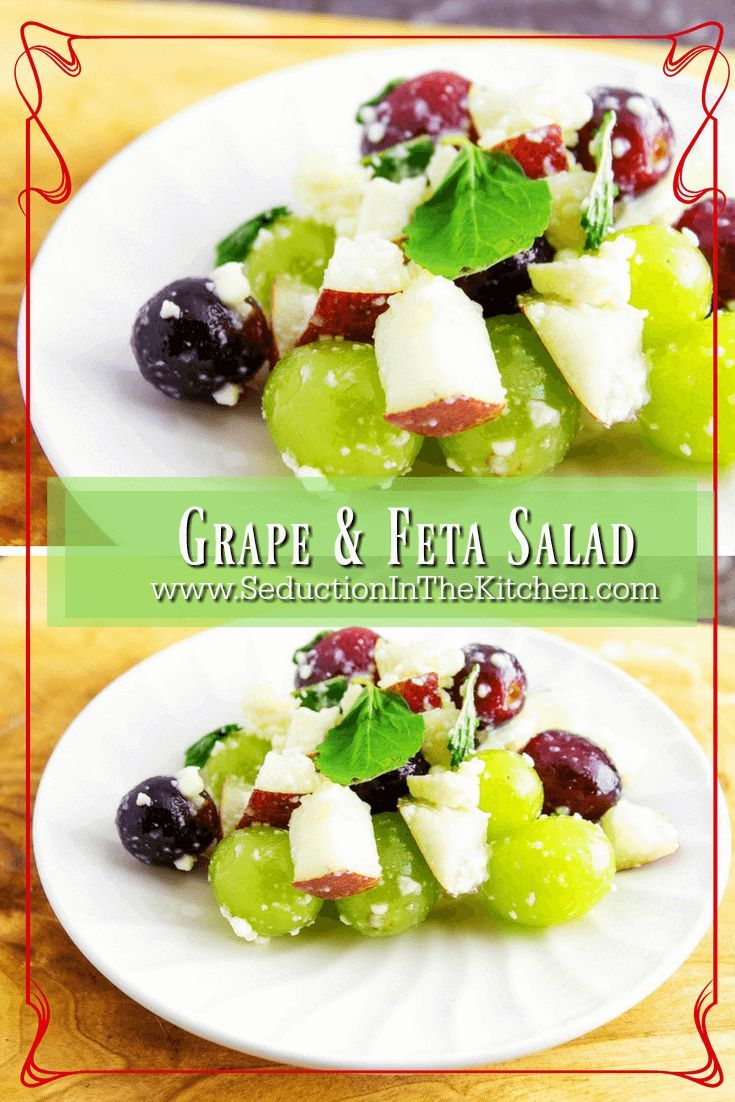 Grape and Feta Salad is a healthy and delicious salad that is simple to make. It is also a nice break from leafy green salads. This grape salad can easily be your new lunchtime favorite. A recipe  via @SeductionRecipe