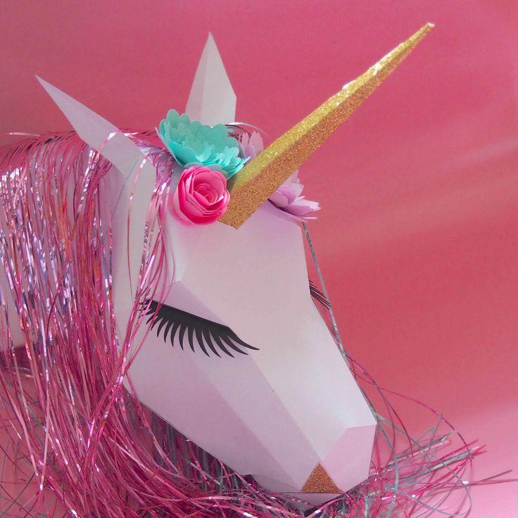 Troph e licorne en papier tutoriel retrouver sur www for Chambre unicorn