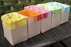 scrap bins - sort by colour as you go.YES! Love..