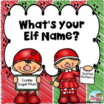 Christmas Freebie ~Elf Activities ~ Elf Name Game ~December Fun~Christmas Elves Do you do Elf on a Shelf in your classroom? Is so, this little Elf Naming activity will be a fun addition to your December activities! Let the kids pick out Elf Names for themselves and then show which job they would love to have at the North Pole!This set includesElf Name Generator Sheet (student picks birth month and favorite color) Editable Elf name Generator (in the event you want to pick your own words)Elf…