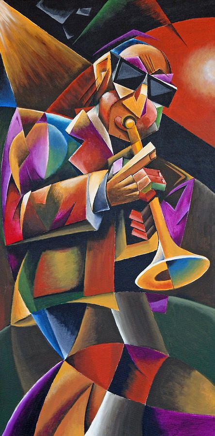 Cubist Painting - Jazz Horn by Bob Gregory