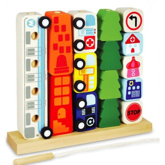 Lacing, sorting and counting in one! Stack and count the pieces, thread them together and create a pull-along toy, or use the vehicles on their own for some fun, free play! #EntropyToys #woodentoys