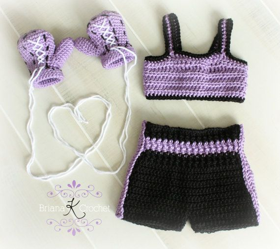 Newborn Boxing Gloves, Sports Top, and Shorts Crochet Outfit in Purple Croc...