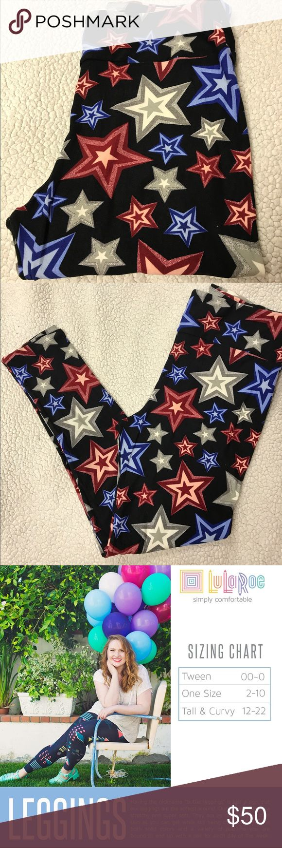 LuLaRoe Americana Collection TC Star Leggings TC (Tall & Curvy, don't worry you don't have to be tall & curvy, either one works. )Fits sizes 12-22 super soft & smooth. These are a limited edition from LuLaRoe Americana 2017 Collection! Which means, very hard to find & extremely limited print. Plz no pricing comments, but feel free to submit offers.   I LOVE OFFERS! BUNDLE & SAVE.         ❌TRADES LuLaRoe Pants Leggings