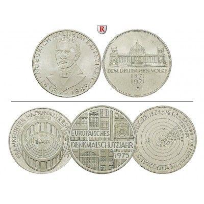 Bundesrepublik Deutschland, 5 DM 1966-1979, 7,0 g fein, vz: 5 DM 7,0 g fein, 1966-1979. 5 DM Gedenkmünzen 1966-1979, diverse Typen.… #coins