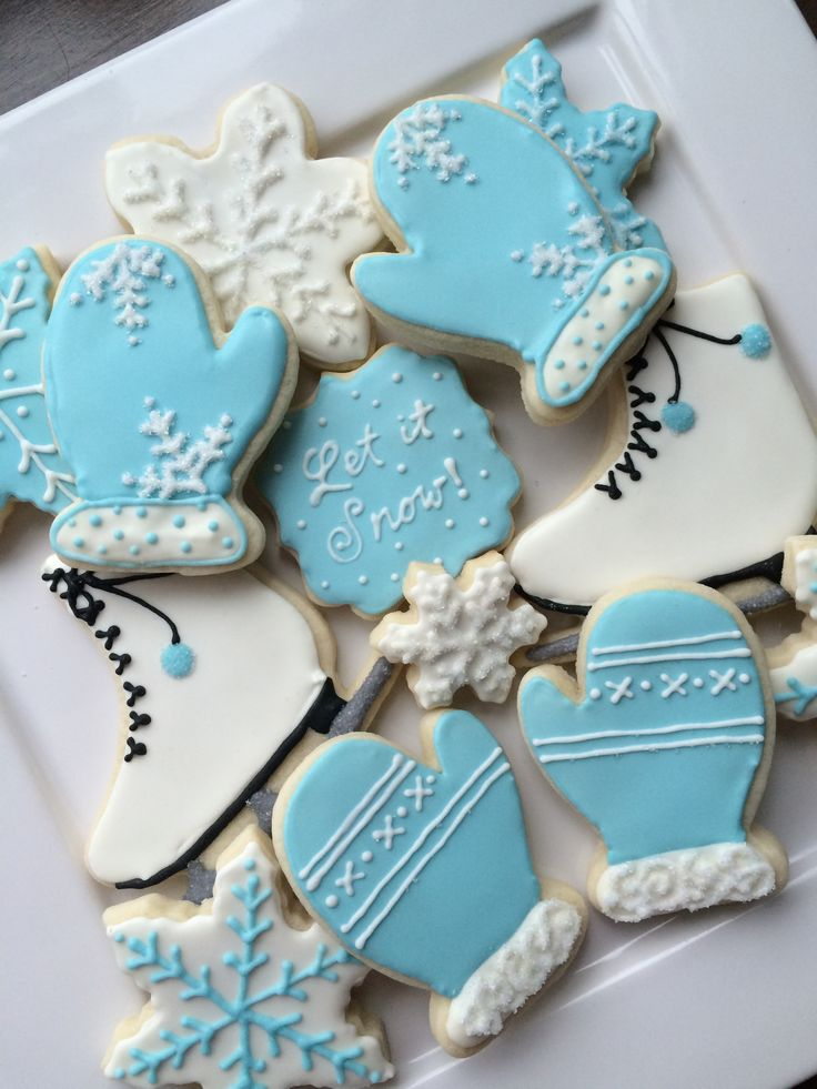 ice skating cookies, snowflakes, mittens decorated cookies