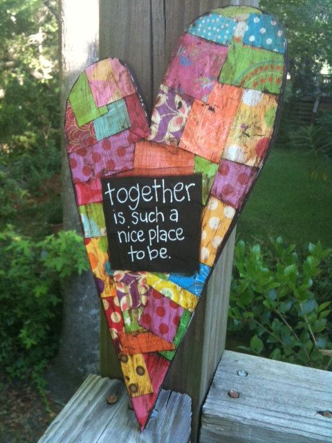 Together Mixed Media Heart 10 x 5 inches by hollychristine on Etsy, $24.50