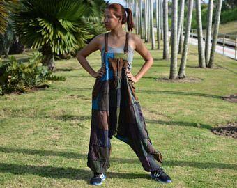 Jumpsuit, Tuta, pantaloni stile Harem, abito hippie, donne, patchwork, cotone stonewashed, abito unico fatto a mano