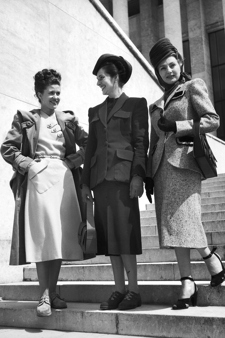 Ladies in Paris, 1947  These midi-length skirts couldn't be more on trend for AW16. Have French women EVER been out of style?   Read more at http://www.marieclaire.co.uk/fashion/1940s-fashion-the-decade-captured-in-40-incredible-pictures-108160#zyTqhbyV8T7Oyhf6.99