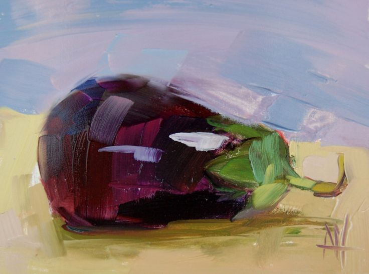 Purple Eggplant no. 5 original still life oil painting by Angela Moulton