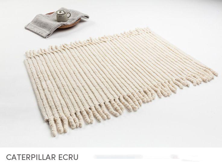 Ecru dywaniki bawełniane z frendzlami do łazienki