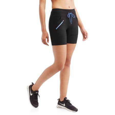 N.Y.L. Sport Women's Performance Bike Short with Contrast Zip Pockets, Blue