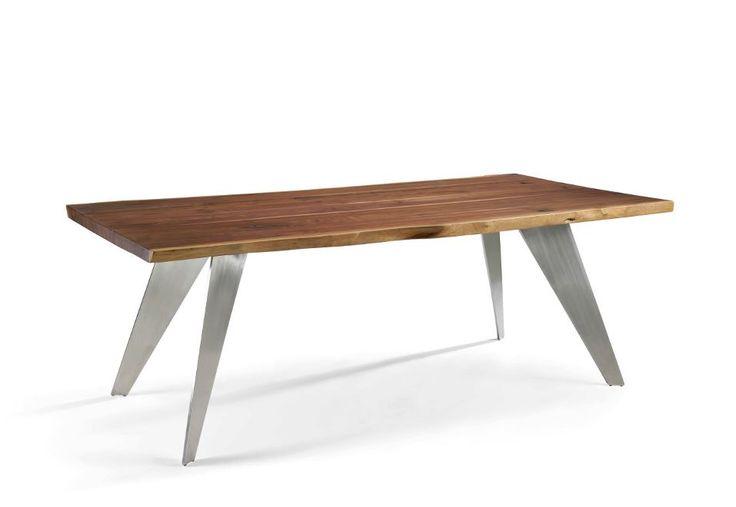Con unos acabados en madera de Nogal o Fresno y acero, esta nueva mesa de diseño moderna de la firma de prestigio Mobles Nacher, deja verse toda la estructura al completo con un estilo totalmente varguardista, será la pieza principal de tu espacio.