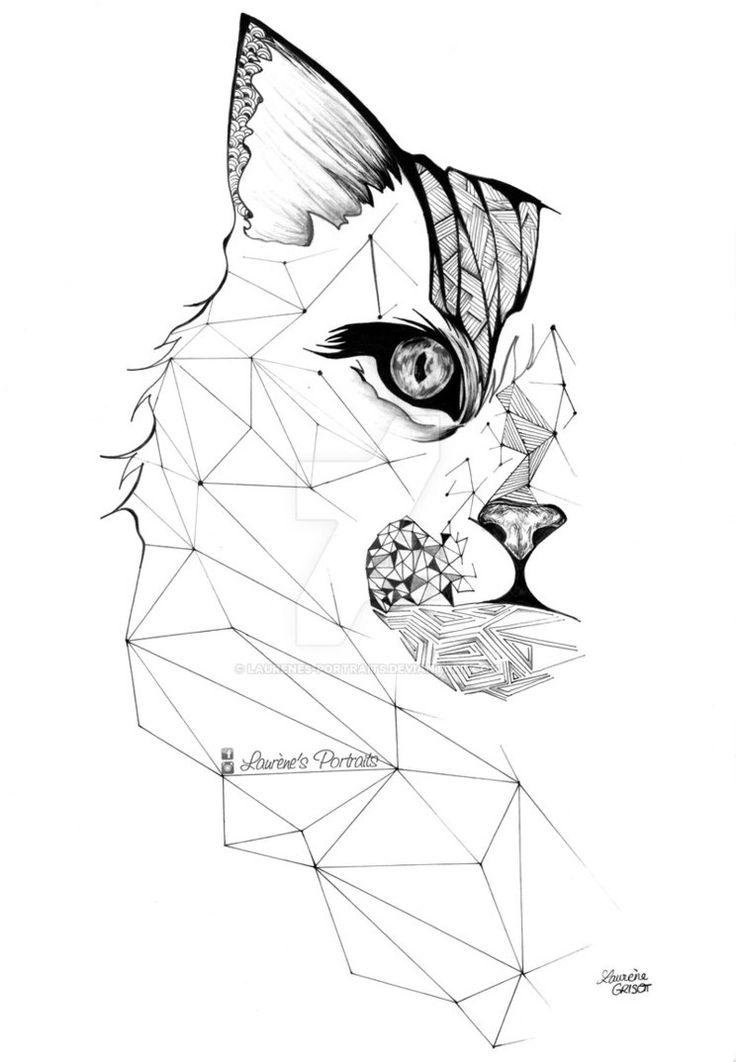 geometric tattoo cat - chat tatouage geometrique