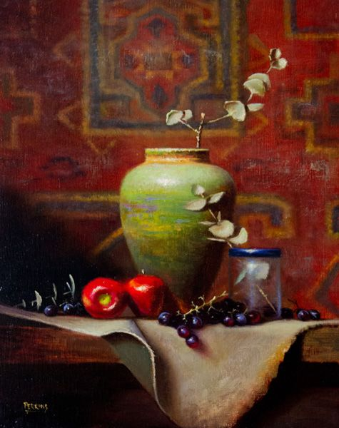 Tim Perkins, Green Vase With Persian Rug, oil, 26 x 20.